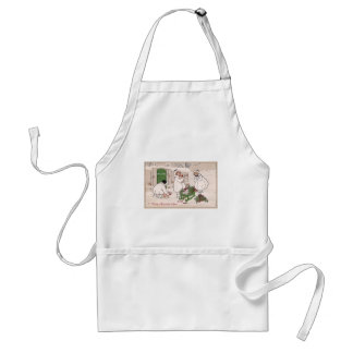 Girls and Pet Pigs Vintage Christmas Adult Apron