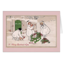 Girls and Pet Pigs Vintage Christmas Card
