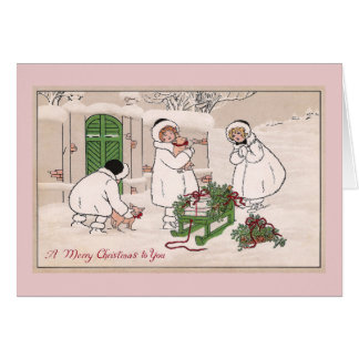 Girls and Pet Pigs Vintage Christmas Greeting Card