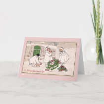 Girls and Pet Pigs Vintage Christmas Holiday Card