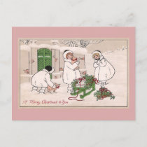 Girls and Pet Pigs Vintage Christmas Holiday Postcard