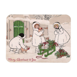 Girls and Pet Pigs Vintage Christmas Magnet