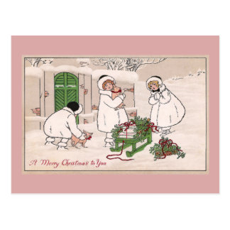 Girls and Pet Pigs Vintage Christmas Postcard