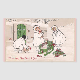 Girls and Pet Pigs Vintage Christmas Rectangular Sticker