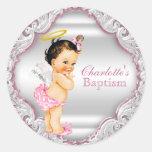 Girls Angel Baptism Christening Classic Round Sticker