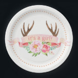"Girls Antler Baby Shower Paper Plates<br><div class=""desc"">Antler baby shower paper plates with rustic watercolor floral antlers and pink banner on a choose your own color and dot background. These cute tribal antler paper plates are easily customized for your event by simply adding the text of your choice. You can also change the banner text and add...</div>"