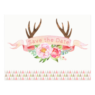 Girls Antler Baby Shower Save The Date Postcards