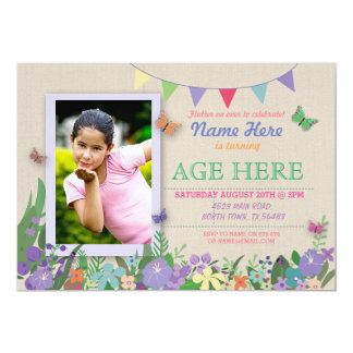 Girls Any Age Butterfly Birthday Photograph Invite
