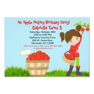 Girls ApplePicking Birthday Party Invitation