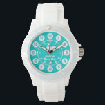 "Girls aqua teal &amp; white full name wrist watch<br><div class=""desc"">Graphic art watch featuring a simple white butterfly. Great for girls watch features both minutes and hours. Customise with your full name example reads Fiona Smythe. Great for school and sports as features your girls full name.</div>"