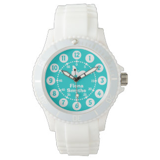 Girls aqua teal & white full name wrist watch