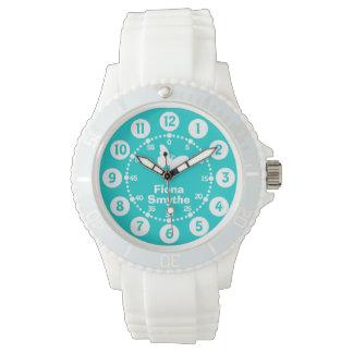 Girls aqua teal & white full name wrist watch