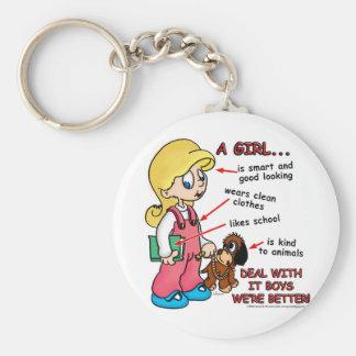 Girls are smarter than boys! basic round button keychain