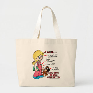 Girls are smarter than boys! large tote bag