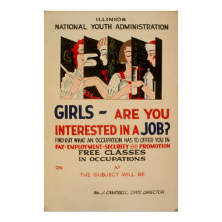 Girls - Are You Interested In A Job Vintage WPA Poster