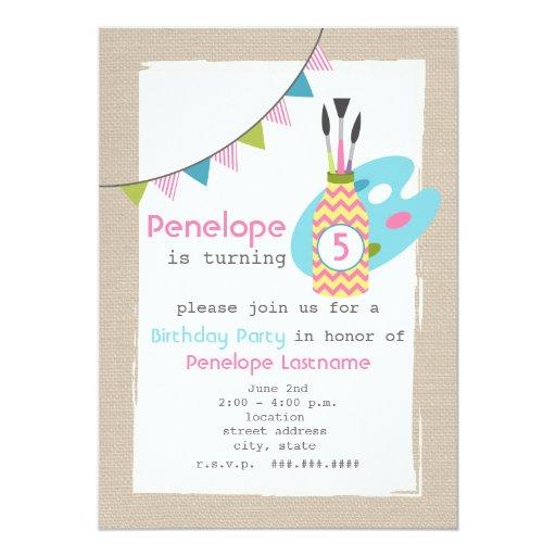 Girls Art / Painting Party Birthday Invitation