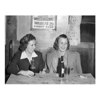 Girls at the Bar, 1940 Postcard