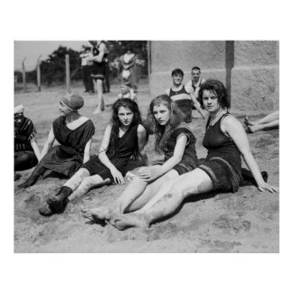 Girls at the Beach, early 1900s Poster