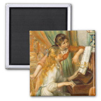 Girls at the Piano 2 Inch Square Magnet