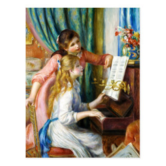 Girls at the Piano Pierre Auguste Renoir painting Postcard