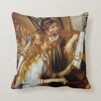 Girls at the Piano Throw Pillow