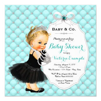 Girls Baby & Co Black Teal Blue Baby Shower Card