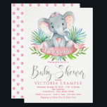 "Girls Baby Elephant Baby Shower Invitations<br><div class=""desc"">Girls elephant baby shower invitations with adorable baby girl elephant wearing a cute pink bow on a palm leaf background. These elephant baby shower invitations are easily customized for your event by simply adding your event details.</div>"