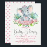 """Girls Baby Elephant Baby Shower Invitations<br><div class=""""desc"""">Girls elephant baby shower invitations with adorable baby girl elephant wearing a cute pink bow on a palm leaf background. These elephant baby shower invitations are easily customized for your event by simply adding your event details.</div>"""