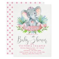 Baby girl shower invitations zazzle girls baby elephant baby shower invitations filmwisefo