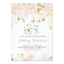 Girls Baby fox lamp Shower Invitations