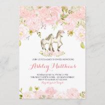 Girls Baby horse Baby Shower Invitations