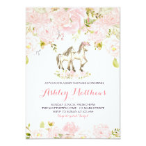Girls Baby horse Baby Shower Invitations