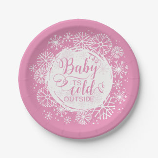 """Girls Baby It's Cold Outside 7"""" Paper Plate"""