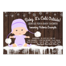 Girls Baby its Cold Outside Baby Shower Invitation