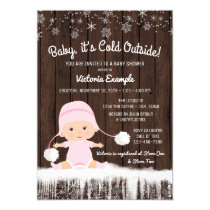 Girls Baby its Cold Outside Winter Baby Shower Card