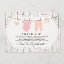 Girls Baby Shower Thank You Card - Rustic