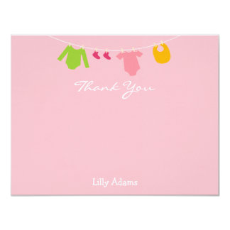 Girls Baby Shower Thank You Note 4.25x5.5 Paper Invitation Card