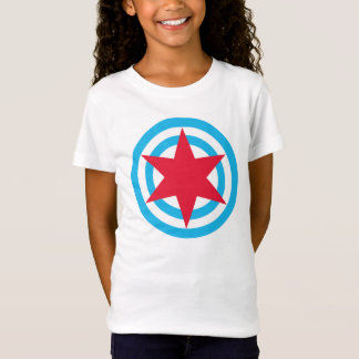 Girls Babydoll Chicago Flag Shirt