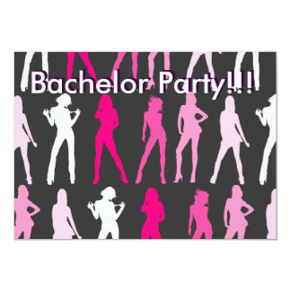 GIRLS, Bachelor Party!!!, Bachelor Party!!! 5x7 Paper Invitation Card