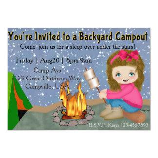 Girls Backyard Campout Invite