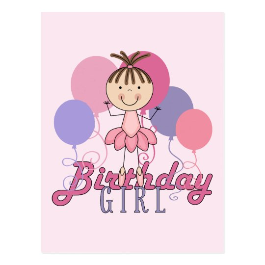 Girls Ballerina Birthday Postcard