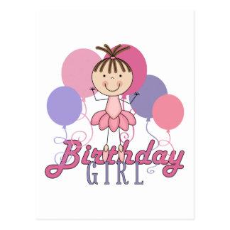 Girls Ballerina Birthday Postcard