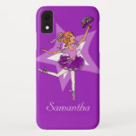 "Girls ballerina purple red hair name iPhone XR case<br><div class=""desc"">Pretty dancing girls ipod touch case. Personalise with your child's name. Exclusively designed by Sarah Trett. www.sarahtrett.com</div>"