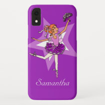 Girls ballerina purple red hair name iPhone XR case