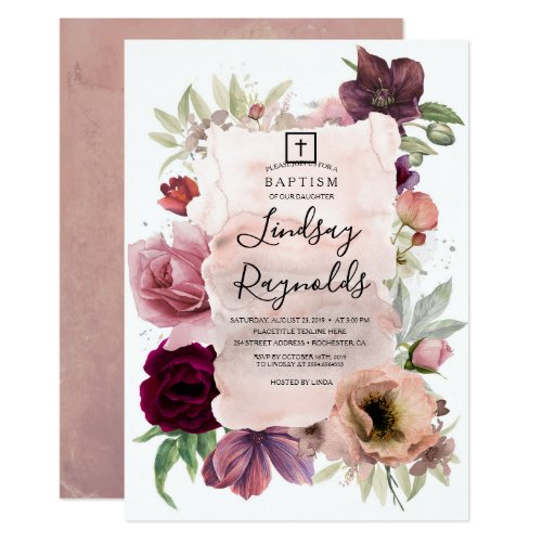 Girls Baptism  Dusty Pink and Burgundy Red Floral Invitation
