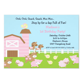 Girls Barn Animal Fun Birthday Party 5x7 Paper Invitation Card