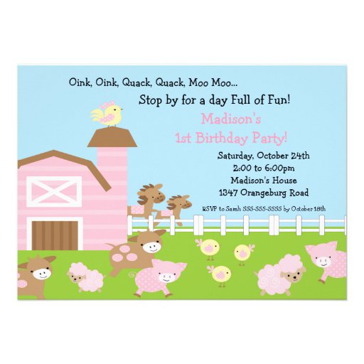 Girls Barn Animal Fun Birthday Party Personalized Announcement