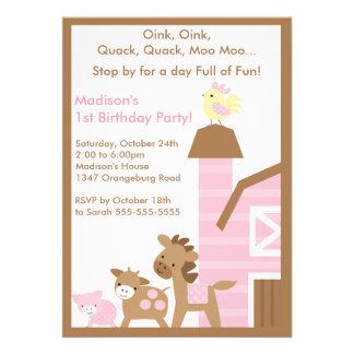 Girls Barn Animal Fun Birthday Party Announcement
