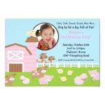 "Girls Barn Animal Fun Photo Birthday Invitation 5"" X 7"" Invitation Card"