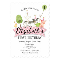 Girls Barnyard 1st Birthday Invitation
